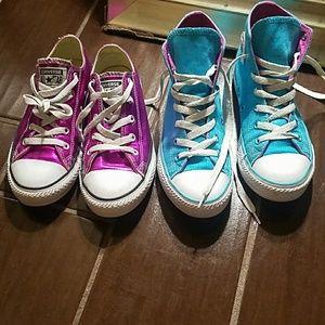 2 pairs of big girls Converse